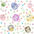Owls, stars and circles seamless background Royalty Free Stock Photo