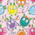 Owls things seamless pattern illustrations of colorful with drawn Stock Photos