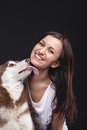 Owner with her dog beautiful woman siberian husky Royalty Free Stock Photo
