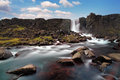 Oxararfoss siklawa w thingvellir Obraz Royalty Free