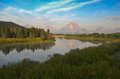 Oxbow bend at grand teton national park Royalty Free Stock Images