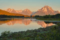 Oxbow Bend reflections at sunrise. Stock Photo