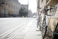 Oxford bicycle a leans against a wall in uk Royalty Free Stock Photo
