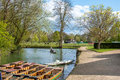 Oxford, UK - 30 April 2016: Tourists punting in river Cherwell Royalty Free Stock Photo