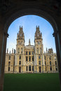 Oxford university all souls college framed by gateway at Royalty Free Stock Images