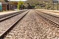 Oxidized railway tracks next to the abandoned Rio Tajo train station, near Garrovillas de Alconetar Royalty Free Stock Photo