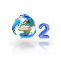 Oxygen, o2, Eco Concept. Globe with recycle arrows Royalty Free Stock Photo
