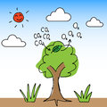 Oxygen tree illustration of hand draw change carbon dioxide to Stock Images