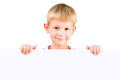 Oy 5-6 years old holding blank poster Royalty Free Stock Photos
