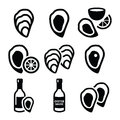 Oysters shell, sauce - sea food icons set Royalty Free Stock Photo