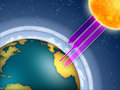 Ozone layer atmospheric filtering the sun ultraviolet rays digital illustration Royalty Free Stock Images