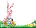 Páscoa cor de rosa bunny egg hunt dos desenhos animados Fotos de Stock