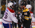 P k subban and david krejci shake hands bruins after the bruins eliminated them from the play offs Stock Photography