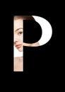 P letter beauty makeup girl creative fashion font