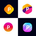 P letter vector company icon signs flat symbols logo set Royalty Free Stock Photo