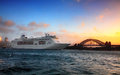P & O Cruise ship on Sydney Harbour at sunrise Royalty Free Stock Photo
