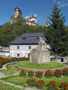 P o hviezdoslav and orava castle a view of main square in oravsky podzamok town with statue of the highest part of situated on a Royalty Free Stock Photo