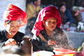 Pa o tribe women myanmar sanghar january eating at local market on january in sanghar village shan state Royalty Free Stock Image