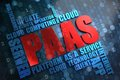 Paas wordcloud concept the word in red color surrounded by a cloud of blue words Stock Image