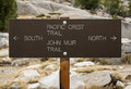 Pacific crest trail sign and john muir north and south Royalty Free Stock Photo