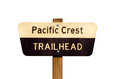 Pacific Crest Trail sign on post isolated Stock Photos