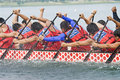 Pacific West Dragon Boat Race Paddlers Royalty Free Stock Photo