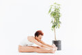 Pacified african american young woman stretching and practicing yoga near small tree in pot over white background Stock Photography