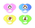 Pacifier vector icon set of collection with penguin teddy bear and turtle for boy and girl babies Stock Image