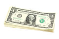 Pack of bills in one us dollar on a white background Royalty Free Stock Image