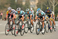 Pack of the cyclists of omega pharma quickstep ride during tour catalonia cycling race through streets monjuich Royalty Free Stock Photography