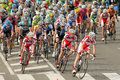 Pack of the cyclists ride during tour catalonia cycling race through streets monjuich mountain in barcelona on march Royalty Free Stock Photography
