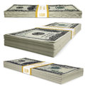 A pack of dollar bills isolated render on white background Stock Images