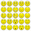 Pack of emoticons with various emotions expression Royalty Free Stock Photography