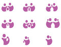 Pack pictograms on the family vector representing various issues such as couple who protects children homosexual couples pregnant Royalty Free Stock Images