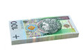 Pack of Polish Zloty bills isolated Stock Image