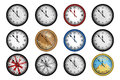 Pack of 12 realistic vintage clocks isolated on white