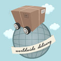 Package box with wheels illustration of a Stock Images