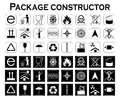 Package constructor. Packaging symbols.  Icon set Royalty Free Stock Photo