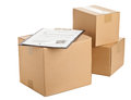 Package delivery brown carton boxes with clipboard and form on white background Stock Photos
