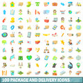 100 package and delivery icons set, cartoon style