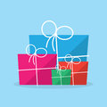 Package gift different sizes in and colors Royalty Free Stock Image