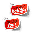 Package holiday and package tour labels Stock Photography