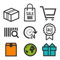 Package icon. Shopping bag, Shopping cart and sale symbols. 24 hour open icon. Birthday signs. World globe icons. Eps10 Vector. Royalty Free Stock Photo