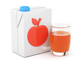 Package of juice and glass on white background d rendering illustration Royalty Free Stock Image