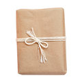 Package wrapped in kraft paper and tied with a rope Royalty Free Stock Photo
