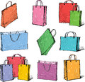 Packages for purchases vector image of the colorful shopping bags Royalty Free Stock Images