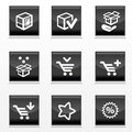 Packaging and buy icons gradient black buttons with flat coloring Royalty Free Stock Image
