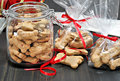 Packaging dog biscuits for Christmas. Royalty Free Stock Photo