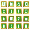 Packaging items icons set green