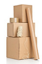 Packaging materials brown carton boxes with on white background Royalty Free Stock Photo